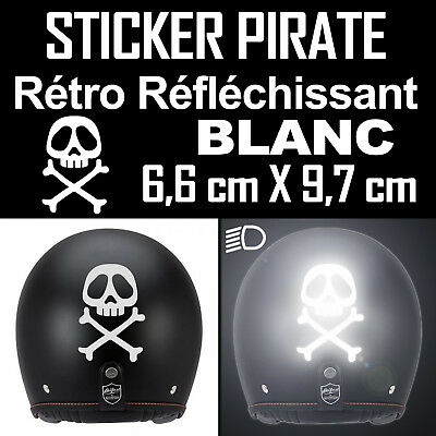 Sticker Autocollant Retro Reflechissant Casque Pirate Albator Corsaire Moto
