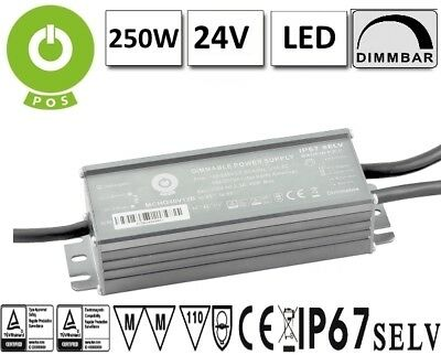 LED Trafo DIMMBAR (1-10V, PWM) mit PFC 24V 250W Konstantspannung Outdoor IP67 MM