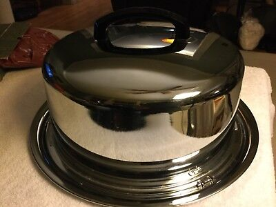 """Vintage Everedy Chrome Cake Carrier 13"""" w/Locking Cover Handle"""