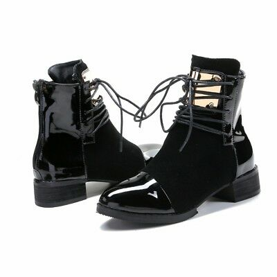 Women's Round Toe Single Shoes - Front Lace-Up Boots