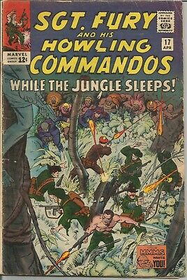 Sgt Fury and His Howling Commandos #17 1965 Marvel Silver Age Comic Book VG