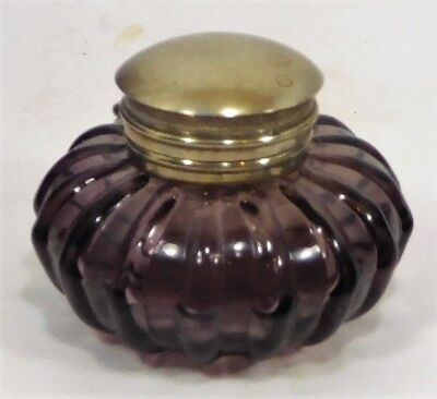 ANTIQUE !! PURPLE-AMETHYST INK BOTTLE with METAL HINGED LID or CAP