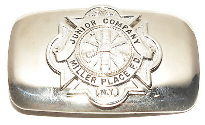 Vintage Junior Company Miller Place Fire Dept NY Silver Tone Belt Buckle