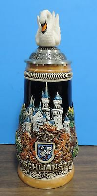 King Neuschwanstein Castle Swan German Beer Stein Mint with Tags & COA