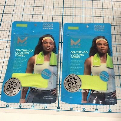 MISSION On The Go Cooling Towel High Vis Green Color (Pack of 2) NEW NIP