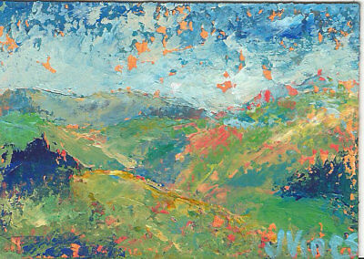 Original Abstract Acrylic Knife Landscape Painting ACEO ART card small mini SFA