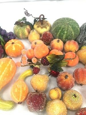 Vintage Beaded Glitter Sugar Frosted Artificial Faux Fake Fruit Lot Of 37 Gords
