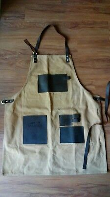 Carpenters Woodworking/Grilling Tool Apron Oiled Canvas And Leather