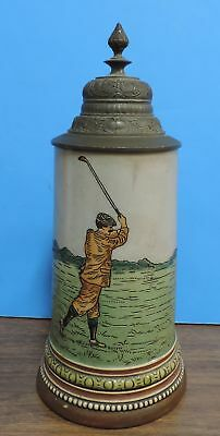 ca. 1900 HR Hauber & Reuther 1001 Golfer Golf German Lidded 1/2 L Beer Stein