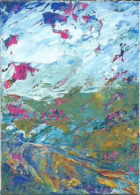 Original Abstract Acrylic Knife Mountain Landscape Painting ACEO modern ART mini