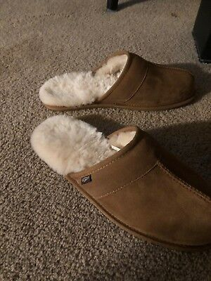 ee4c30b69b8 UGG Men s LEISURE Scuff Suede Shearling Slippers Tan Men Size 11 New In Box