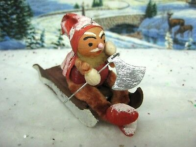 Vintage Spun Cotton Chenille Santa Elf on Cardboard Sled ( 613)