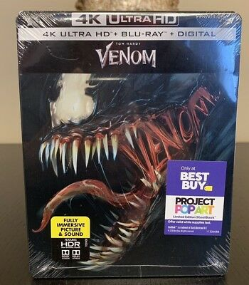 Venom 2018 Steelbook 4K Ultra HD Blu-ray Digital HDR DVD Best Buy Limited Bundle
