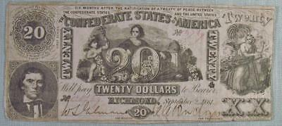 1861 $20 CSA Note - Richmond, Numbered & Signed - T-20 - Fine +