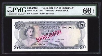 Bahamas 10 Dollars Specimen 1968 P30CS2 PMG Gem Uncirculated 66 EPQ