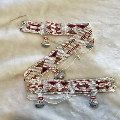 Vintage Antique Masai African Beaded Women White Red Blue Bead Silver Charm Belt