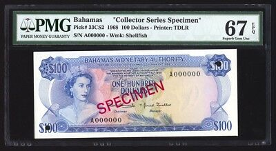 Bahamas 100 Dollars Specimen 1968 P33CS2 PMG Superb Gem Uncirculated 67 EPQ