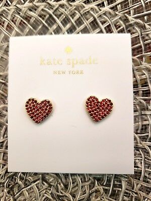 e986a2a648073 NWT - kate spade new york - yours truly - pave heart stud earrings - Red