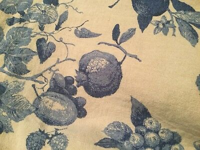 Vintage Luther Travis Fruit and Floral Linen Tablecloth 47X60