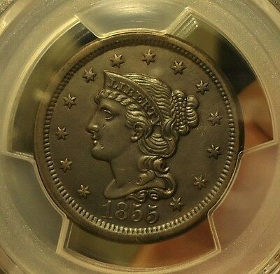 1855  PCGS  Genuine  AU Details  Braided Hair Cent  (Cleaned)  $180-$210