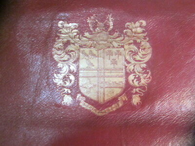 Antique English Red Leather Panels with Gilt Coat of Arms - Rare and Very Unique