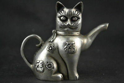 Chinese Collectible Decorate Handwork Old Tibet silver carving cat Lucky teapot