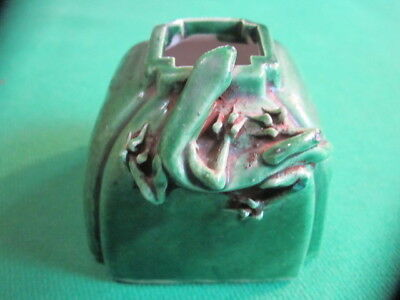 Antique Chinese Scholars Brush Washer - Applied Lizard - Signed