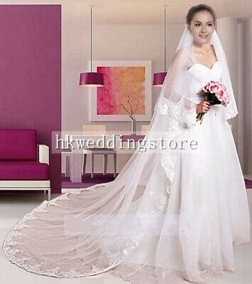 2019 White/Ivory 2-Tier Cathedral Length Lace Edge Bride Wedding Bridal Veil