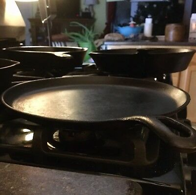"""🔥WAGNER GRIDDLE """"E"""" Cast Iron Cookware Stovetop Frying Skillet 11"""" Burger Pan"""