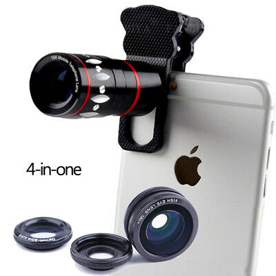4-in-1 10x Fisheye HD Telephoto Zoom Lens Camera for Universal Mobile cell Phone