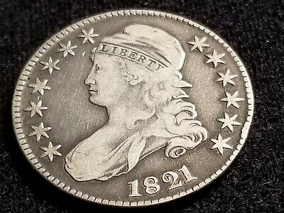 1821 Capped Bust Silver Half Dollar, full date, full liberty     H41