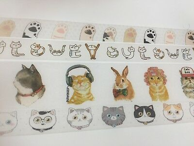 Kitty Theme Washi tape Calico Cat Paw Love You Costume Wide Tape