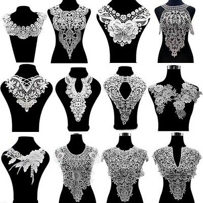 1x White Lace Neckline Collar Beautiful Flower Embroidery Lace Applique Sewing
