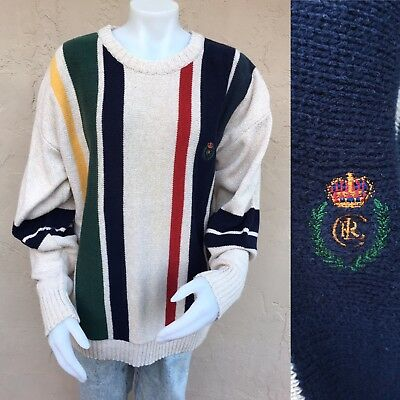 ccd97c3fd0c Vintage Ralph Lauren Chaps Mens Sweater CRL Crown Crest Stripes Cream Red  Blue