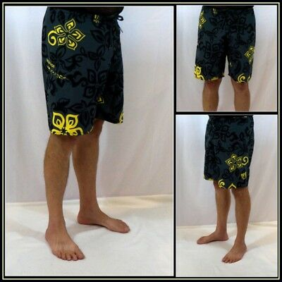 980c6108bb Body Glove Gray Black Yellow Sufer/Skater Board Shorts/Swim Shorts Sz (34