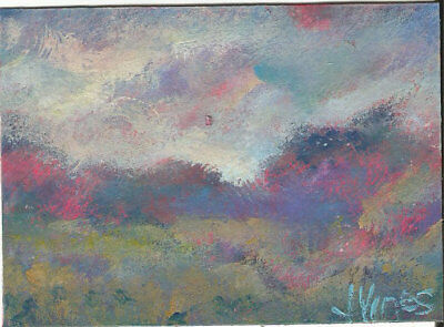 Original Abstract Acrylic Sunrise Meadow Landscape Painting ACEO mini ART small