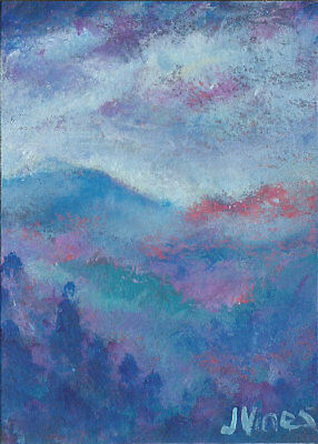 Original Abstract Acrylic Mist Mountains Landscape Painting ACEO mini ART small