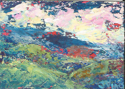 Original Abstract Acrylic Knife Mountains Landscape Painting ACEO ART SFA mini