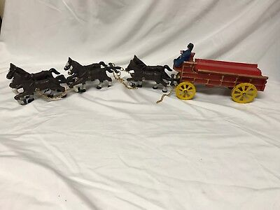 Vintage Cast Iron Wagon with 6 Clydesdale Horses and 2 Drivers