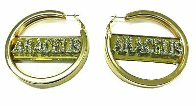 32a6b1d9a Personalized Custom Gold Hoop Earrings Name Plate LaserCut Stunning Diamond  Look