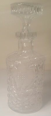 Vintage Crystal clear Wine Decanter w/frosted  flowers