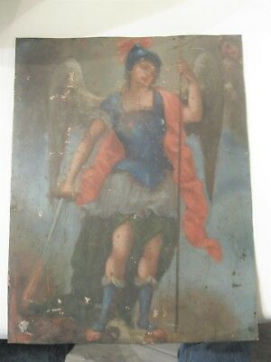 Original Antique Retablo On Tin  With Ithe Image Of Of The Archangel Michael
