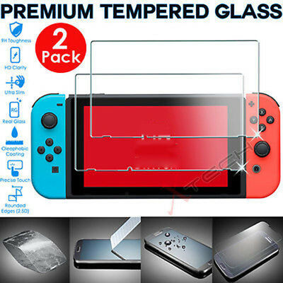 2 Pack of Genuine TEMPERED GLASS Screen Protector Covers For Nintendo Switch FY