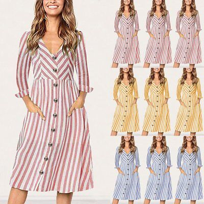 Fashion Women Long Sleeve V Neck Striped A-Line Party Cocktail Dress Sexy Dress