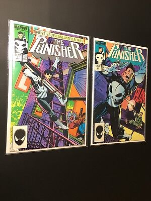 """The Punisher #1 1987 Marvel """"1st Issue In Unlimited Series!"""" #4 First Microchip!"""