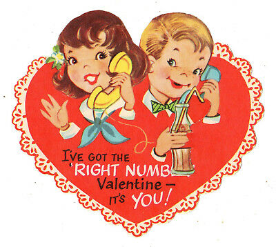 """Teens With Old Telephones """"i've Got The Right Number"""" /vtg Unused Valentine Card"""