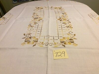 """48"""" X 64"""" Tablecloth White Vintage Beautiful Cross Stitch Fall Colors"""