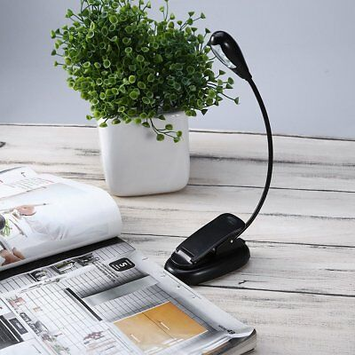 Flexible Neck Portable Travel Book Reading Light Lamp Mini 4 LED Clip Booklight