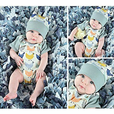 Newborn Baby Boys Girls Cartoon Chick Romper With Cap Outfits Kids Clothing Suit