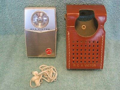 Vintage RCA Victor Transistor Radio Model 1-TP-2E, Leather Case, Ear phone, USA